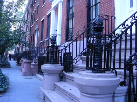 A line of brownstones