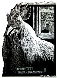 portrait of broiler cock, with axe on wood stump out in the window scene